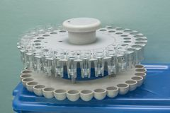 White Drum with test tubes for medical centrifuge for blood testing royalty free stock images