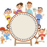 A drum and three-generation family. The three-generation family who enjoys a drum and a festival royalty free illustration