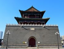 Drum tower,Tianjin. This bell and drum tower has a history of more than hundreds of years.The Bell Tower, a classical building with carved beams and painted stock image
