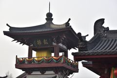 The drum tower. Is an ancient building with giant drums, used to beat the alarm stock photos