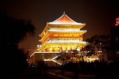 Drum Tower night scenes in xian Stock Photography
