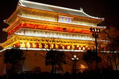 Drum Tower night scenes in xian Royalty Free Stock Photos