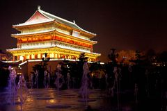 Drum Tower night scenes in xian Stock Photo