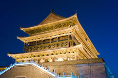 Drum Tower at night, Xian, China. Famous historical Drum Tower in the downtown area of Xian, China Royalty Free Stock Images