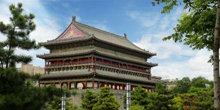 Drum tower of the old city wall of xi an ,Shanxi ,china stock photo