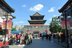 Drum Tower in Tianjin City. This Drum Tower is located in Tianjin, China.It is now a shopping area Stock Photography