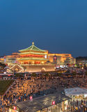 Drum Tower in Xi`an China at night with many people royalty free stock photography