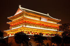 Drum Tower of XiAn at Night. The drum tower in the center of XiAn at night Stock Photos
