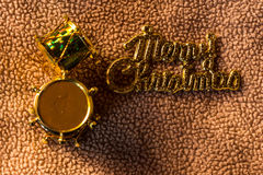 Drum toy Merry christmas word on fabric, still life Stock Photos