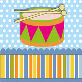 Drum. Toy on special blue background Royalty Free Stock Images
