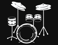 Drum unit. Vector illustration of a percussion musical instrument. Stylized black and white illustration. Rock concert Stock Photos