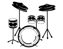 Drum unit. Vector illustration of a percussion musical instrument. Stylized black and white illustration. Rock concert Royalty Free Stock Image
