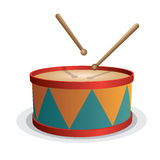 Drum vector  on white Royalty Free Stock Photography