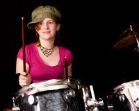 Drumer teenager Fotografia Stock Libera da Diritti