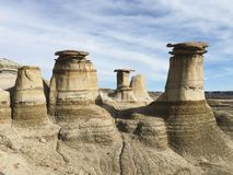 Drumheller HooDoos is a 0.5 kilometer heavily trafficked loop trail located near Drumheller, Alberta, Canada that features a cave, royalty free stock photography