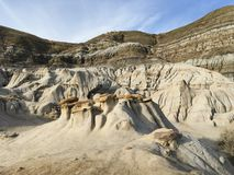 Drumheller HooDoos is a 0.5 kilometer heavily trafficked loop trail located near Drumheller, Alberta, Canada that features a cave royalty free stock photography