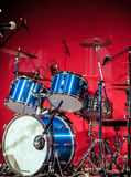 Drumkit in front of Blue Background Royalty Free Stock Photography
