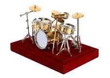 Drumkit miniature sur un fond blanc images stock