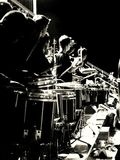 Drumline. Black and white picture of marching band drumline Stock Photography