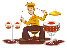 Drummer. Horizontal figure of the cheerful drummer Royalty Free Stock Image