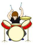 Drummer. The drummer plays the drums Royalty Free Stock Images