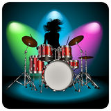 Drummer. Girl play the drums. Vector illustration Stock Photo