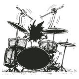 Drummer. Black and white illustration of a drummer . Files comes with clipping path Royalty Free Stock Photography