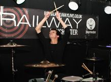 Drummer. The drummer of English pop band Forever August during  a live show In Winchester UK in July 2011 Stock Image