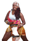 Drummer. An African woman plays a small djembe drum, set against a white background Royalty Free Stock Photos
