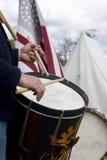 Civil War Reenactment March Drummer Musician Stock Photography