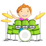 Drummer. Vector illustration of small boy playing drums Stock Photography