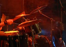 Drummer. Plaing. may be use as background for party posters stock photography