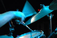 Drummer. Drums at live concert Stock Photo