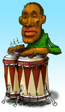Drummer. Just a drummer man playing music. Freehand drawing scanned and colored on computer Stock Images