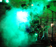 Drummer. Playing during concert on stage royalty free stock photo
