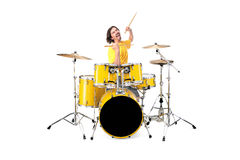 Drummer. Playing the drums isolated on white Royalty Free Stock Photos