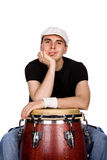 Drummer. Studio picture of a young man drummer stock photos