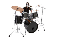 Drummer. With scenic makeup isolated on white Stock Photos
