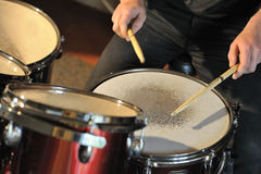 The drummer in action Royalty Free Stock Photos