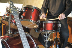 The drummer in action Royalty Free Stock Images