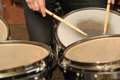 The drummer in action Stock Images