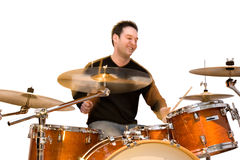 Drummer in Action. Isolated on white background Royalty Free Stock Photography