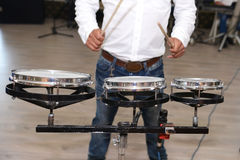 Drummer in action. close up process play on a musical inst Stock Image