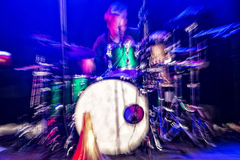 Drummer in action. Shot with intentional camera movement and motion blur Stock Image