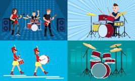 Drummer banner set, flat style vector illustration