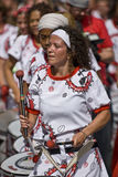 Drummer from Batala Banda de Percussao Royalty Free Stock Images