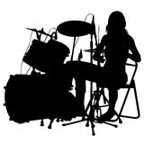 Drummer. Beating the drums on stage. Drum set. silhouette Stock Photography