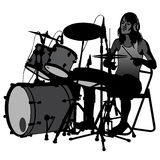 Drummer. Beating the drums on stage. Drum set. silhouette Stock Photo