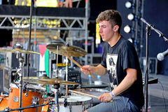 Drummer of Belako (Basque band) in concert at Dcode Festival Stock Photo