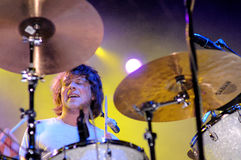 The drummer of The Black Box Revelation (band from Belgium) performs at Discotheque Razzmataz Royalty Free Stock Image